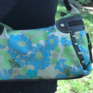 St. John's Bay Bags - Small Blue Floral Side Zippers St. John's Bay Bag